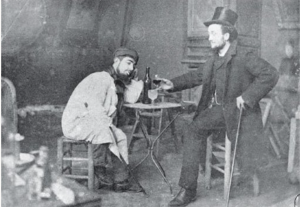 Toulouse-Lautrec and Lucien Metivet drinking absinthe 1885